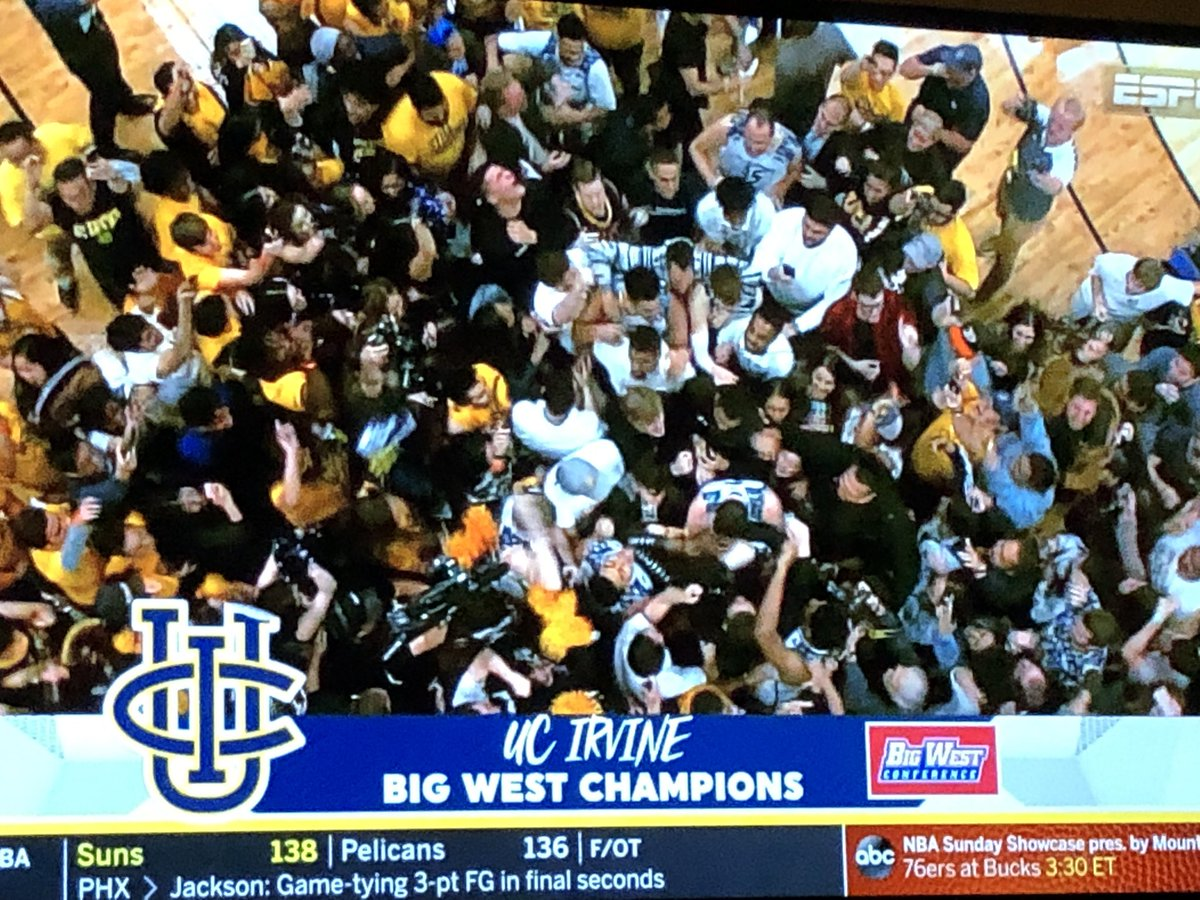 #Breaking     Congratulations to @UCImbb - they're headed to the NCAA tournament as BigWest champs, eliminating CAL State Fullerton 92-64 #abc7eyewitness