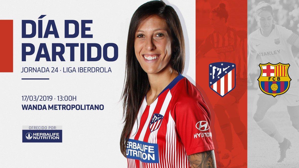 😊 ¡Bueeeenoooos díaaaas, #AtléticosPorElMundo! 👋 ⚽ ¡El gran día ha llegado! 🔝 🏧 ¡VAMOS, CHICAS! 💪🔴⚪ #AúpaAtleti #AtletiBarça