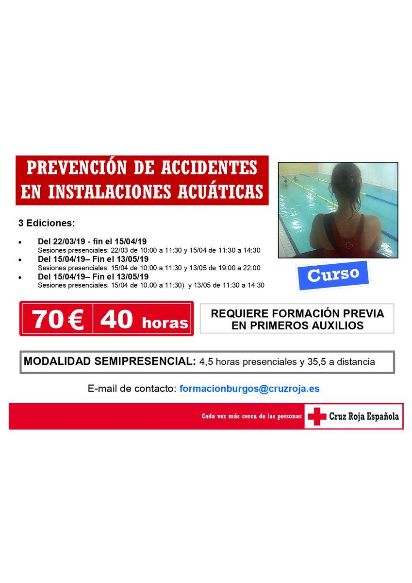 CURSO PREVENCIÓN DE ACCIDENTES EN INSTALACIONES ACUÁTICAS 🌊 🗓️Del 22/03/19 al 15/04/19 🗓️Del 15/04/19 al 13/05/19 🗓️ Del 15/04/19 al 13/05/19 📩: formacionburgos@cruzroja.es  #salvamentoacuatico #cursos  #piscinas #salvamento  Requiere formación en #primerosauxilios #Burgos
