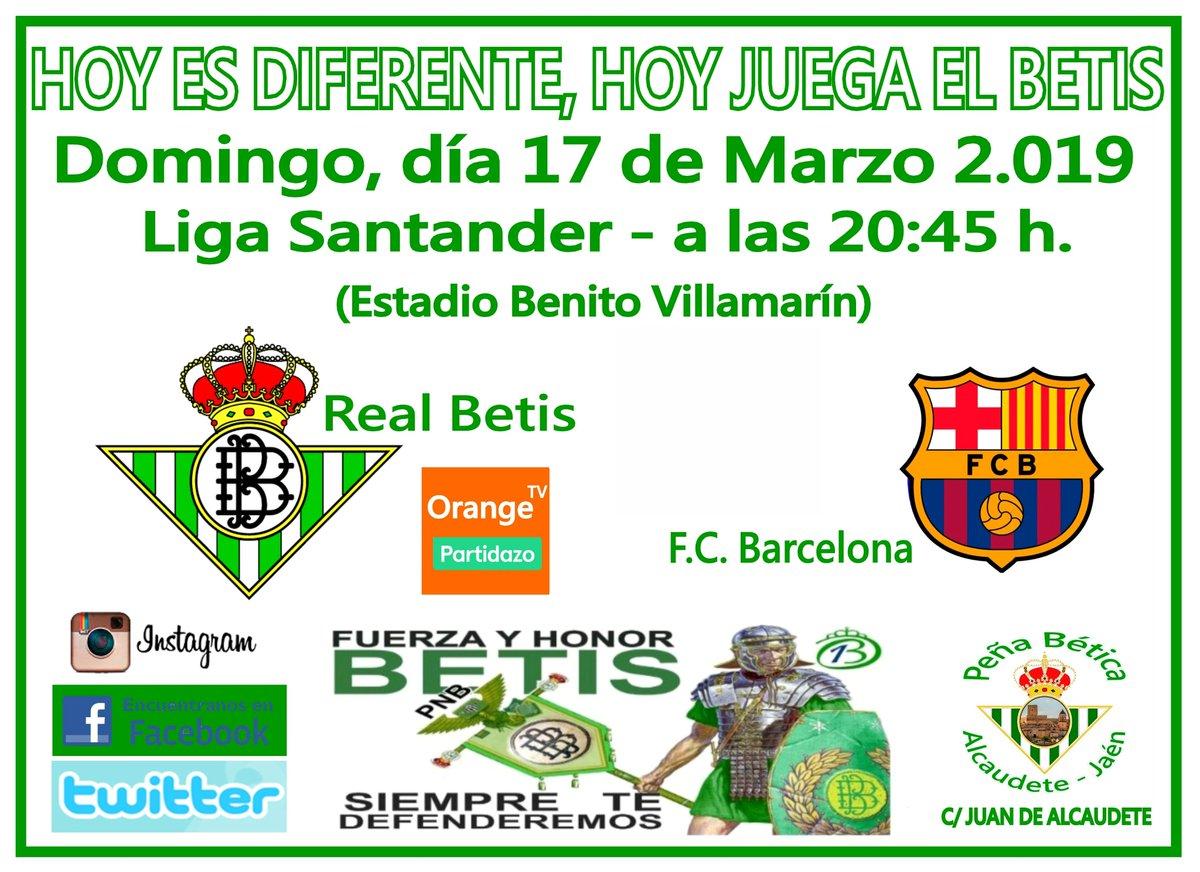 Hoy es diferente, hoy juega el Betis. 28º Jornada liga Vente a verlo a la peña!!! C/ Juan de Alcaudete. Real Betis Balompié - F.C. Barcelona. (Estadio Benito Villamarín)