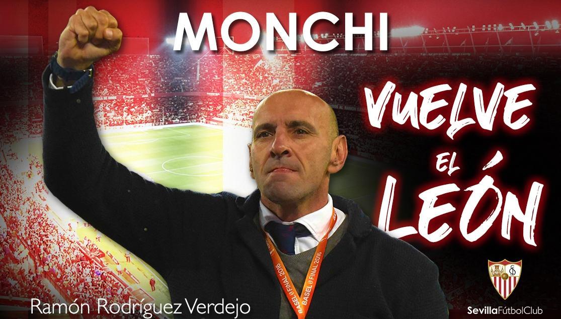 ⚪️🔴 | OFICIAL | El @SevillaFC hace oficial el regreso de MONCHI (@leonsfdo) como Director General Deportivo.    🗓️Su incorporación efectiva será a partir del próximo 1 de abril.  🎙️La presentación mañana a las 13:00 en el Sánchez-Pizjuán🏟️