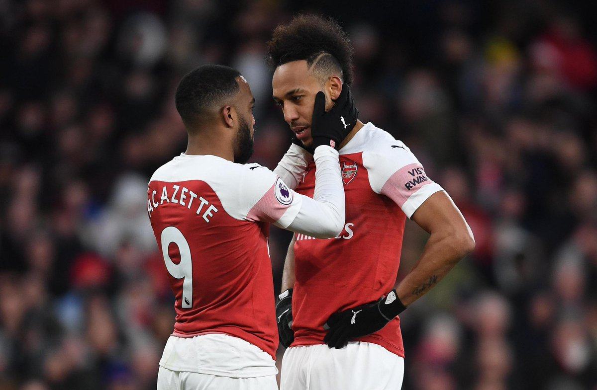 Lacazette and Aubameyang for Arsenal this season.  77 games 46 goals  17 assists <br>http://pic.twitter.com/PnVP1sRx7H