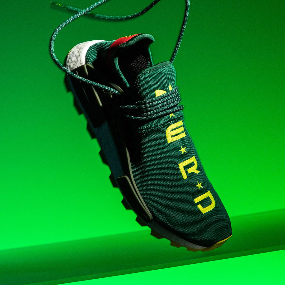 """The limited edition NERD x Pharrell x adidas NMD Hu TR """"BBC Exclusive""""  doubles at the perfect option to lace up for St. Patrick s Day.  http   bit.ly 2x7ix3Z ... a16dd1d93390"""