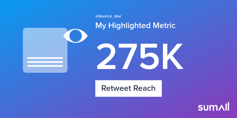 My week on Twitter 🎉: 43 Mentions, 55.5K Mention Reach, 273 Likes, 138 Retweets, 275K Retweet Reach. See yours with https://sumall.com/performancetweet?utm_source=twitter&utm_medium=publishing&utm_campaign=performance_tweet&utm_content=text_and_media&utm_term=5bb5bdaa2dfe0017687fd983 …