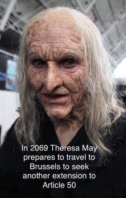 In 2069 Theresa May prepares to travel to Brussels to seek another extension to Article 50.  #BrexitMayhem  #NothingHasChanged #GeneralElectionNow<br>http://pic.twitter.com/Mpsd1rY0tn