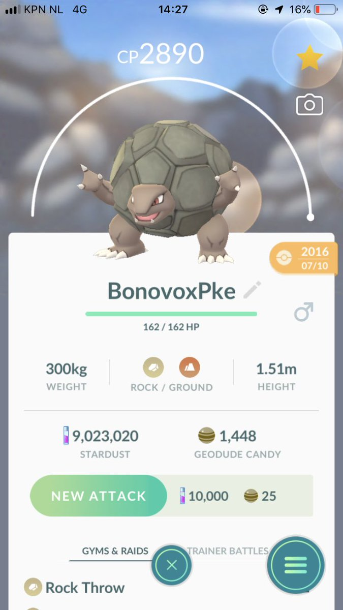 """Let's start an official """"What's your oldest Pokémon?!"""" tag!  This is my Golem that I got 4 days after launch, it's a 89% and I still use it actively to date!  I nominate @ItsFleeceKing, @ProdigiesNation & @mzabowski to share theirs and then nominate 3 others as well!  #PokemonGO"""