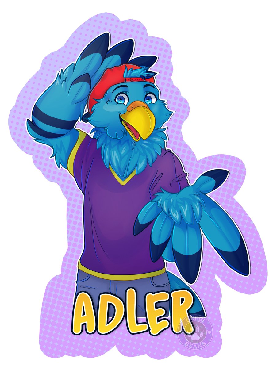 Experimental Gift badge Art for @Adler_the_Eagle Congrats on GOH for PFC :) cant wait to see you there! #fanart #furry @PineFurCon #furryart #corgibeans #furrybadge #furryartist #adler #eagle #birb #furryconvention #furryfanart<br>http://pic.twitter.com/qHsQl2MaMK