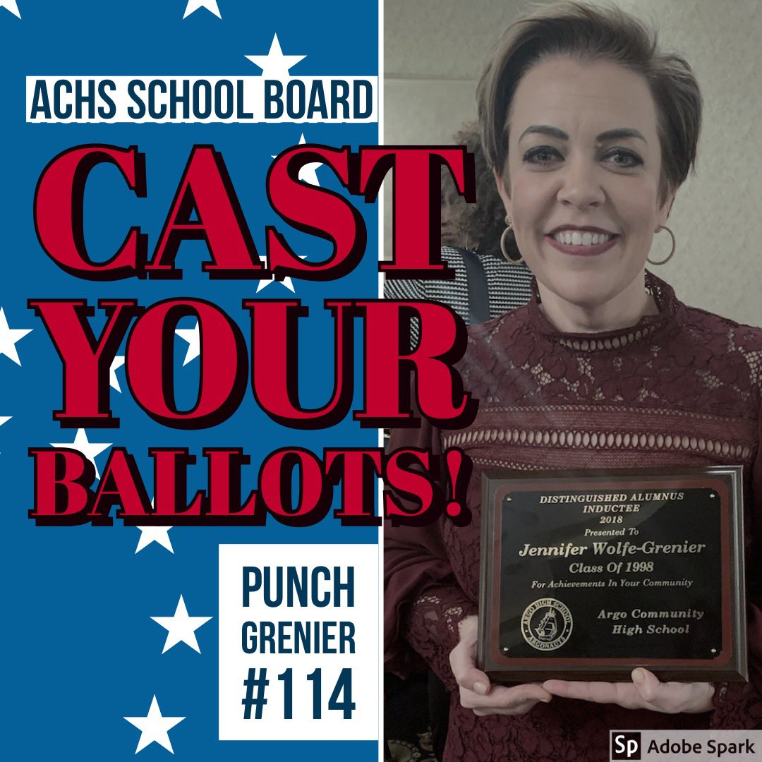 Bridgeview, Justice, Willow Springs, Summit, Bedford Park friends and neighbors please vote for me on April 2nd as I run for school board member for ACHS.  #sharethepost #grenier114 <br>http://pic.twitter.com/Jg0553jhgu