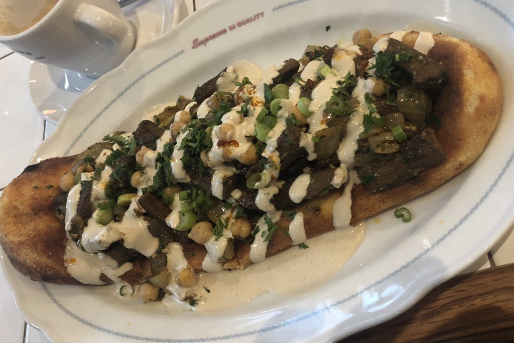 Did you know Israel has the largest number of vegans, per capita, in the entire world? When I became vegetarian many years ago, my biggest regret was chicken shawarma. Enter Cafe Landwer's vegan shawarma that changed my life! 165 University Ave. #israelifood #vegan #israel