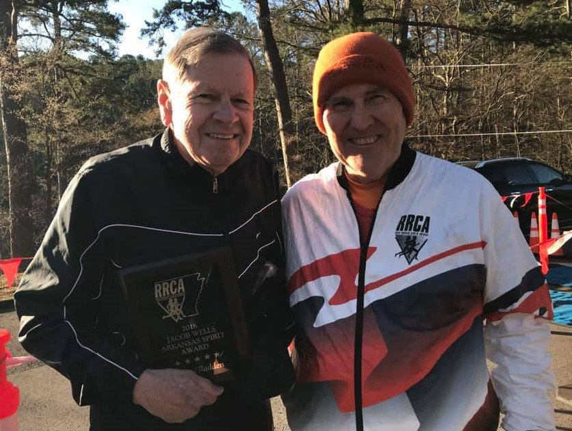 My Dad and Sam. These two have run all 37 Hot Springs, AR SPA 10 K's. Not sure how they do it!