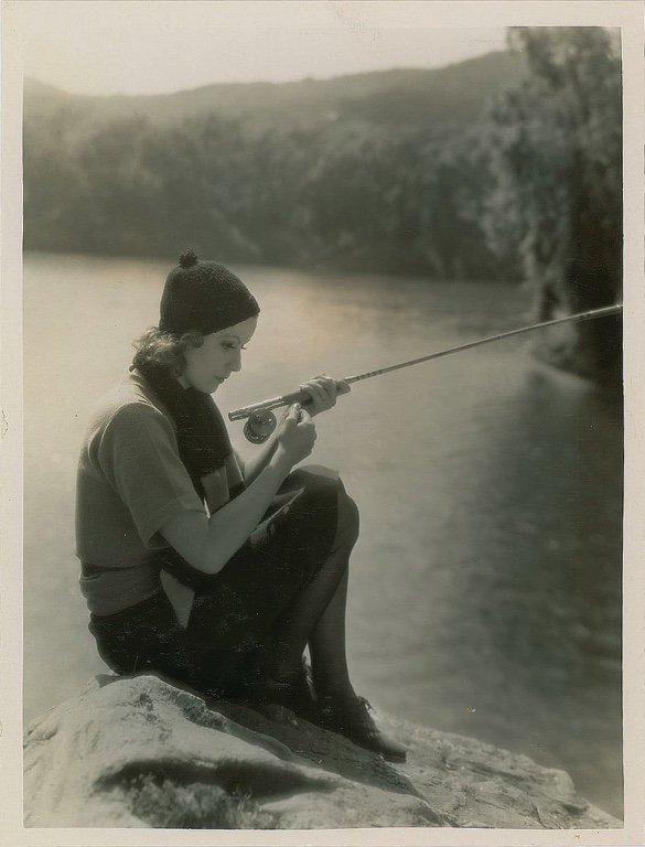Greta Garbo fishing.
