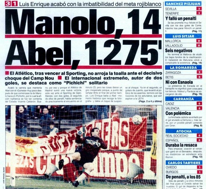 El 17.3.1991 nuestro portero Abel dejó el récord de imbatibilidad en 1.275 minutos tras marcarle Luis Enrique en el @Atleti - @RealSporting. Victoria rojiblanca 3-1 con 2 ⚽ de Manolo y 1 de Juanito. Esa temporada Manolo no fue pichichi, aunque si en la siguiente. #TalDiaComoHoy