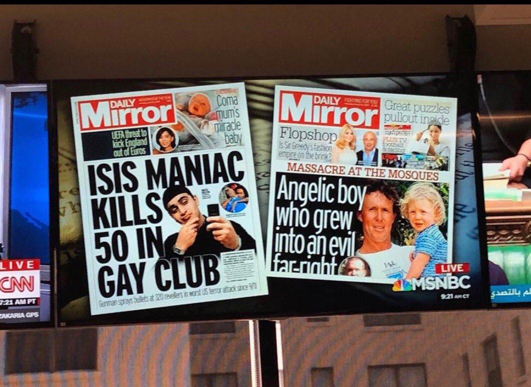 قناة MSNBC الأميريكية تناقش مسألة ازدواجية المعايير في تغطية الإعلام الغربي للإرهاب و اختلاف العناوين عندما يكون المنفذ غير مسلم، و ذلك على خلفية هجوم #نيوزيلندا_الارهابي.
