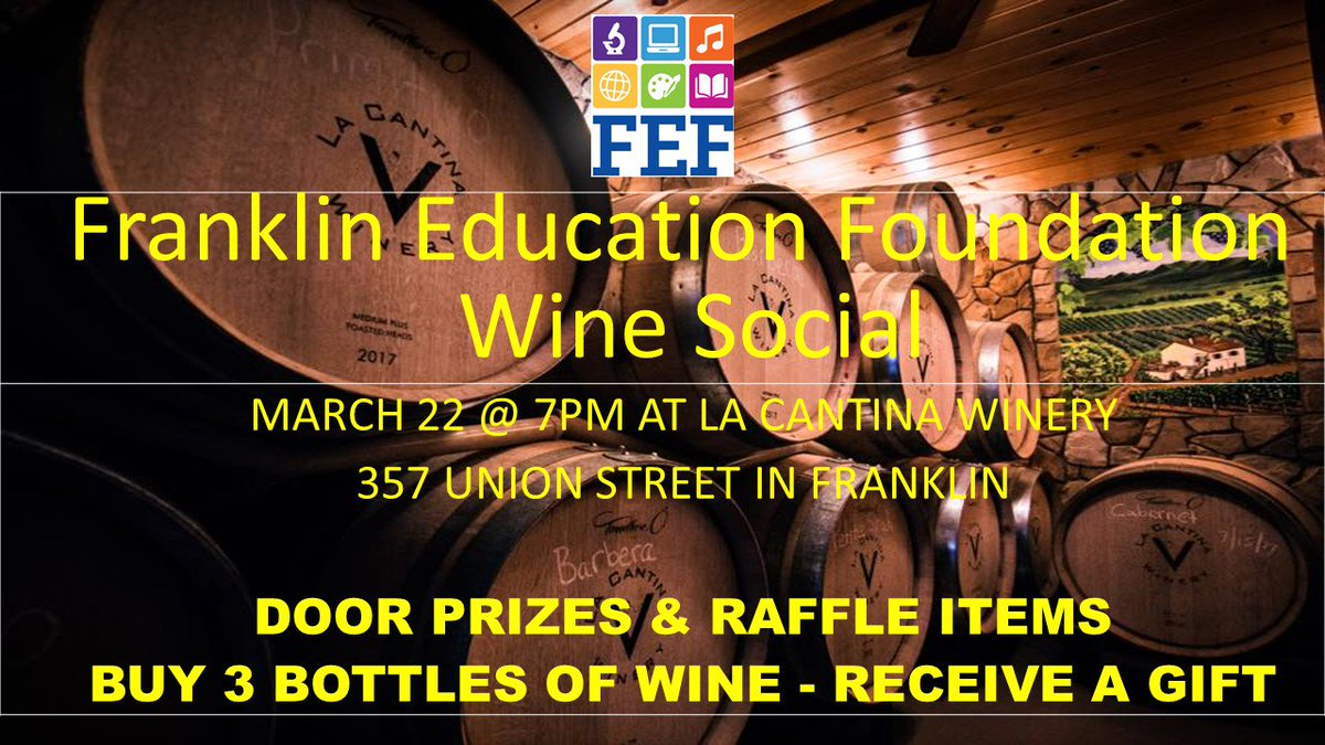 FEF Wine Social. at La Cantina, March 22 - 7:00 PM