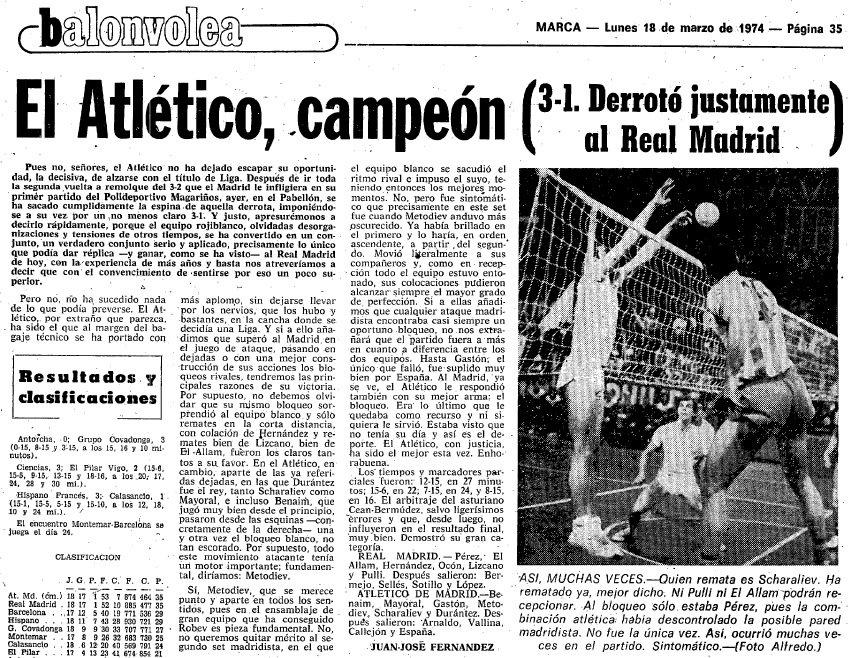 El 17.3.1974 el equipo de voleibol del @Atleti consiguió su 4ª liga al derrotar en el encuentro decisivo al @realmadrid por 1 set a 3 en partido disputado en el pabellón de la Ciudad Deportiva madridista, que se llenó para ver eltrascendental choque. #TalDiaComoHoy #HistoriaATM