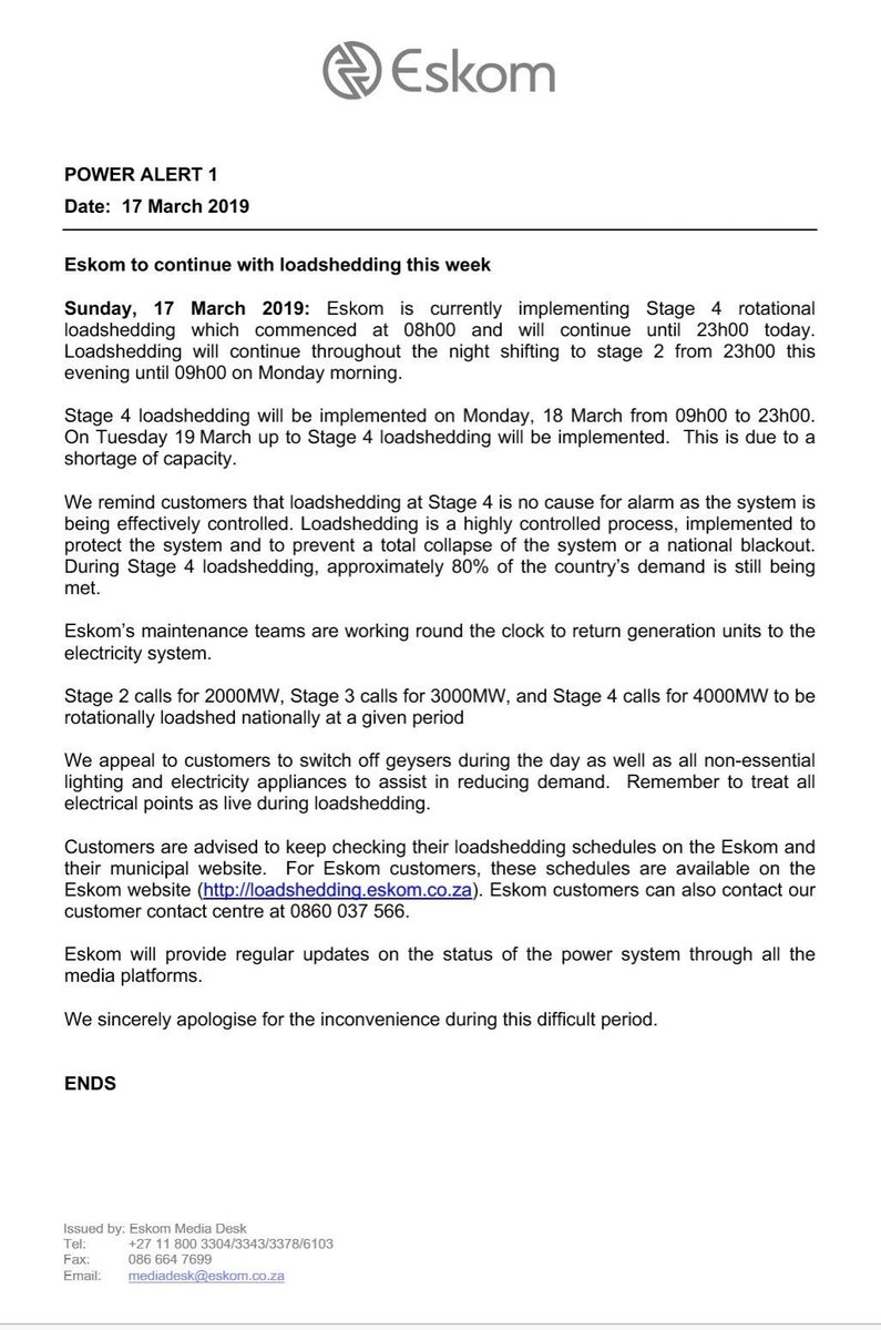 Stage 4 Load-Shedding Monday and Tuesday [18/03/2019 & 19/03