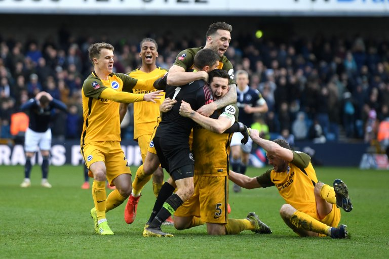 LISTEN: What a game at The Den. The Seagulls progress to the semi-finals of the #FACup after penalty shootout win #bhafc #bbcfacup  👇 https://bbc.in/2FhJ5oH