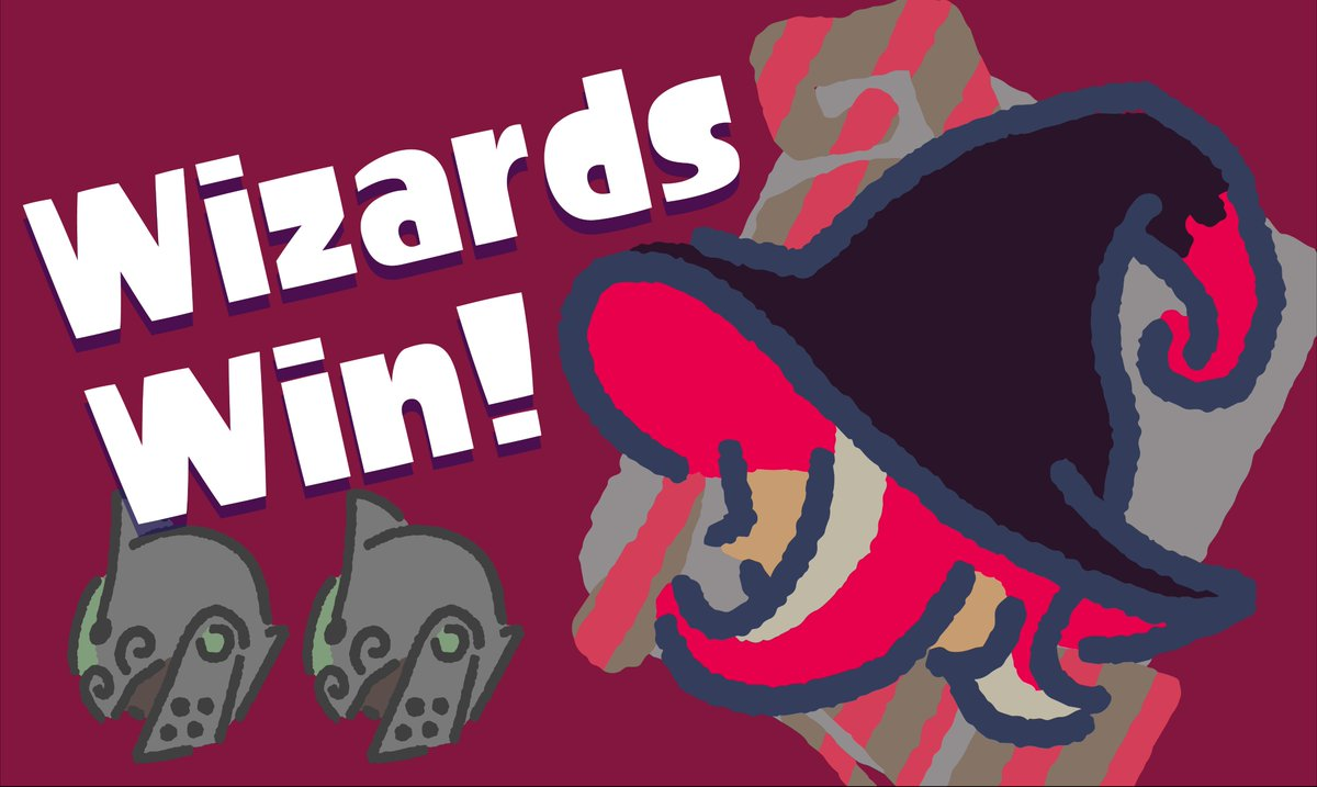 Hear ye hear ye! Ye olde #Splatoon2 #Splatfest results have arrived! With a 2-1 win, #TeamWizards is formally declared the victor! Thanks to all the participants, and make sure to pick up your Super Sea Snails in Inkopolis Square!