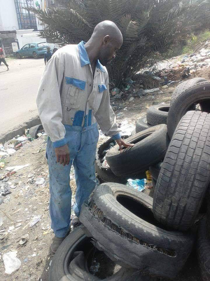 Dear Twitter,  Can we please make this guy go Viral  His name is Nkwocha Ernest, He resides in Lagos  He makes Arts with used/Condemned Tyres  Please RT to inspire someone