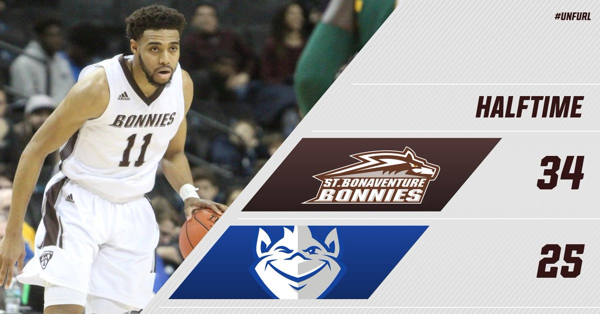 Nine point lead at the half. LaDarien Griffin with 10 points and 9 boards. Stockard has nine points. #Bonnies
