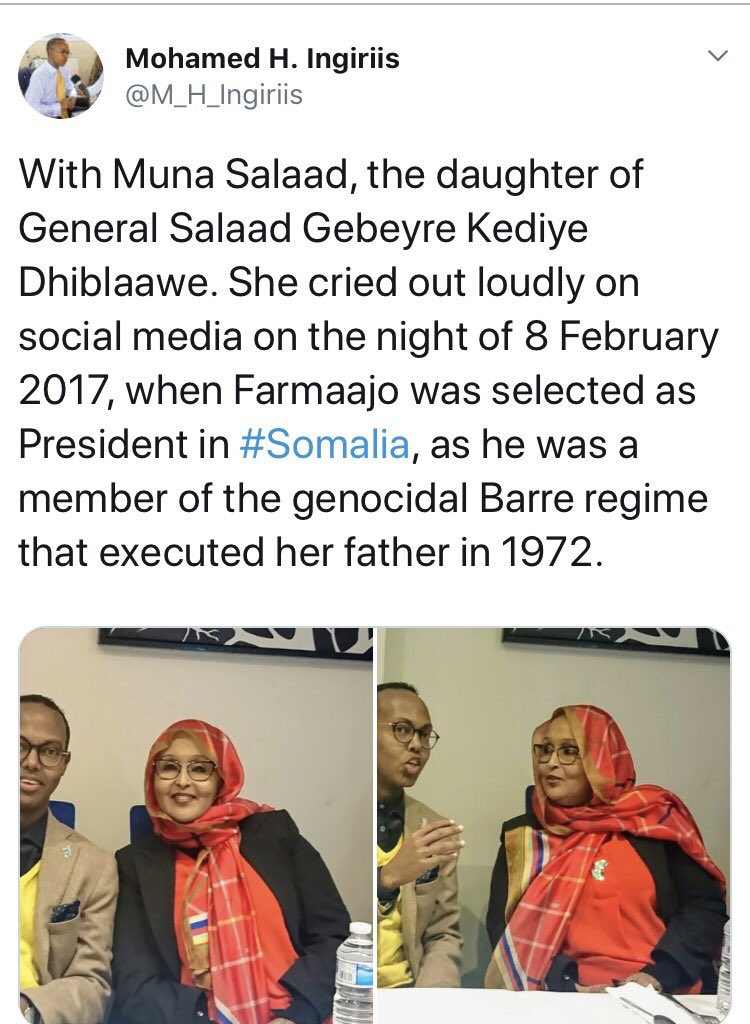 this psychopath is not only an embarrassment to the Somalis, but the entire human race! He's telling us Farmaajo was a member of the Barre regime in 1972 regardless of Farmaajo being 10yr old. We need to confront this lunatic spreading hate & division @medhikalash @SharmakeF