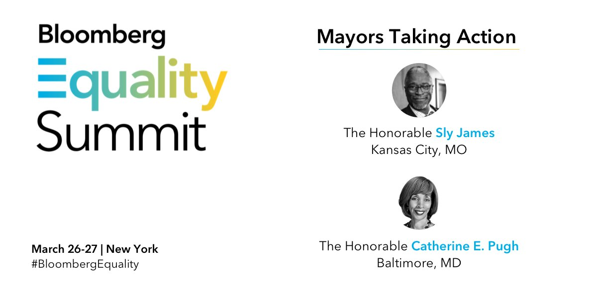 Mayors are often the first point of contact - taking action against inequality at the local level. At #BloombergEquality, @CarolMassar will talk with @MayorPugh50 and @MayorSlyJames on how advocacy and leadership can extend beyond the municipal level to affect change. 🌆