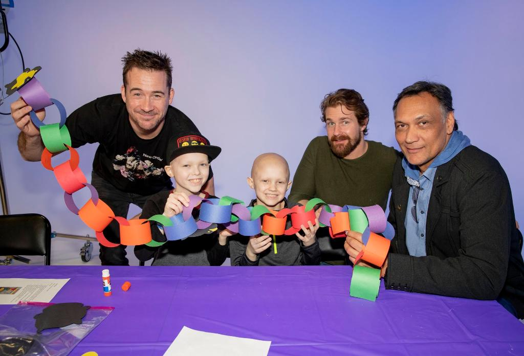 Thanks to @Logan_Shroyer of @NBCThisisUs, Jimmy Smits and the cast of the new @nbc legal drama Bluff City Law for stopping by to visit the kids of St. Jude.