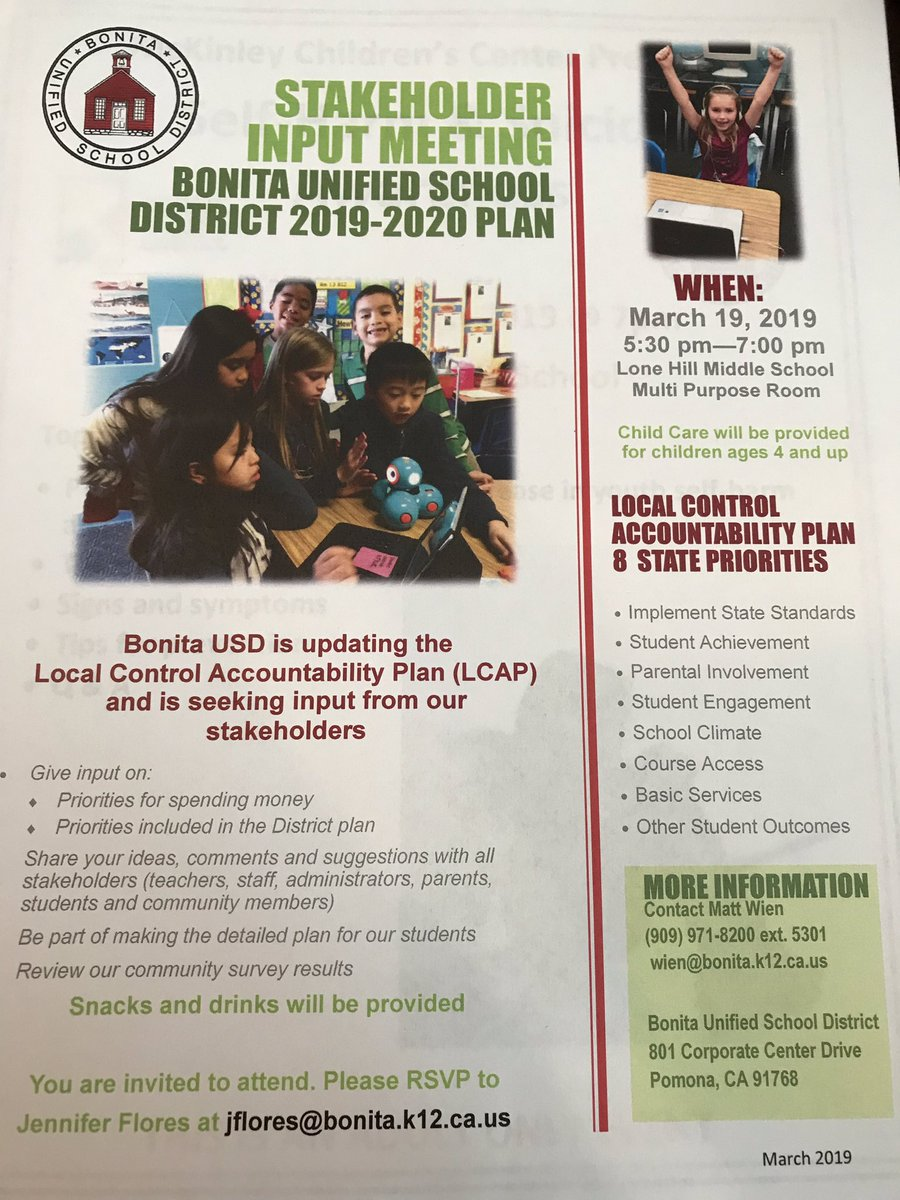 We are updating our LCAP and seeking your input for our district. Please join us on Tuesday, March 19th. <br>http://pic.twitter.com/TaK5N6j8SW
