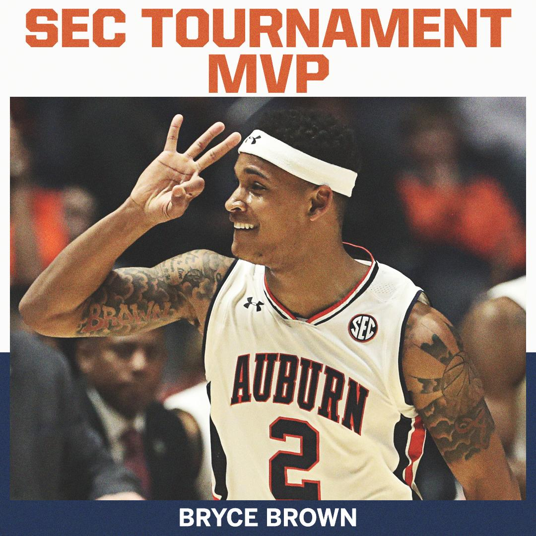 He set the SEC Tournament record for made 3&#39;s with   The MVP: @AuburnMBB&#39;s Bryce Brown <br>http://pic.twitter.com/feBSKOgvmv