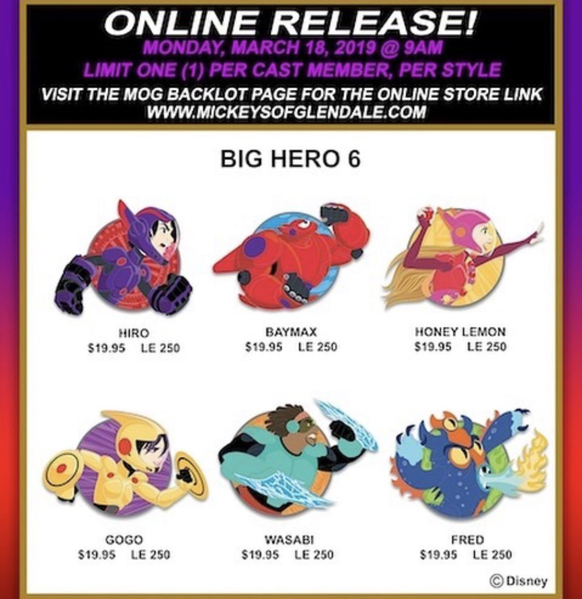 ab75a46c7f Big Hero 6 profile pins release tomorrow online for Disney Cast Members:  https:/