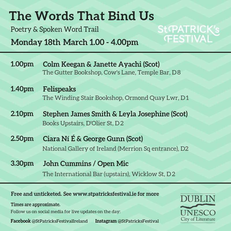 Join us later today for @DublinCityofLit #WordsThatBindUs Poetry Trail. Head along to @gutterbookshop, @winding_stair, @NGIreland, @BooksUpstairs the International Bar - All free admission & no booking required! Poets including @sjswords @Colm_Keegan @Felispeaks @LeylaJosephine1