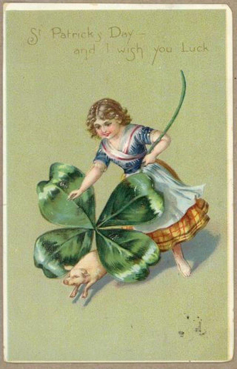 Женщине стихи, клевер на старинных открытках