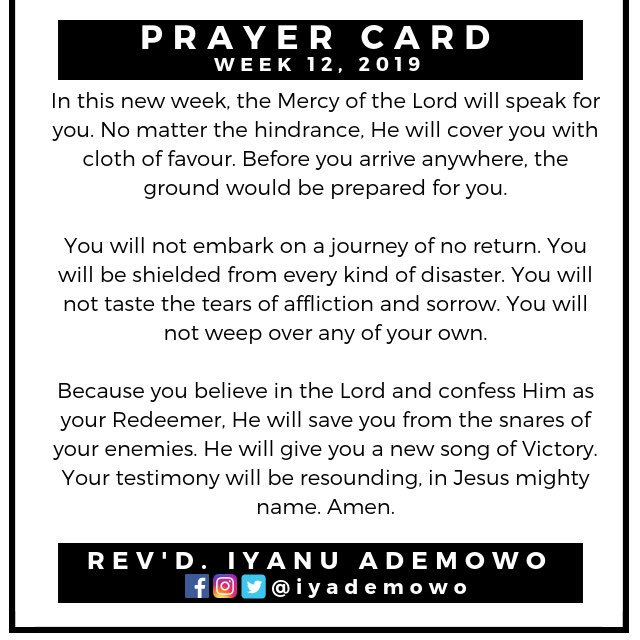 Prayer Card (Week 12, 2019) You are impenetrable to every dart of