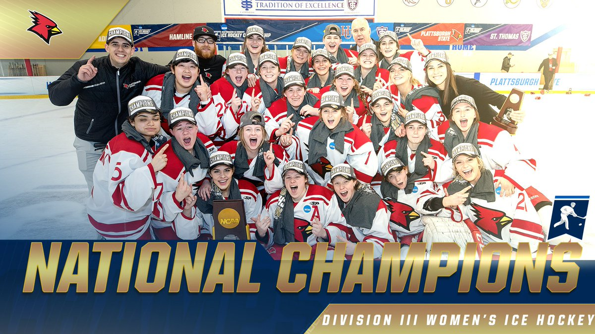 The @CardinalsWHKY team clinched its fifth @NCAADIII women's ice hockey national championship in the past six years with a 4-0 win over Hamline: https://on.ncaa.com/2Fhu85J