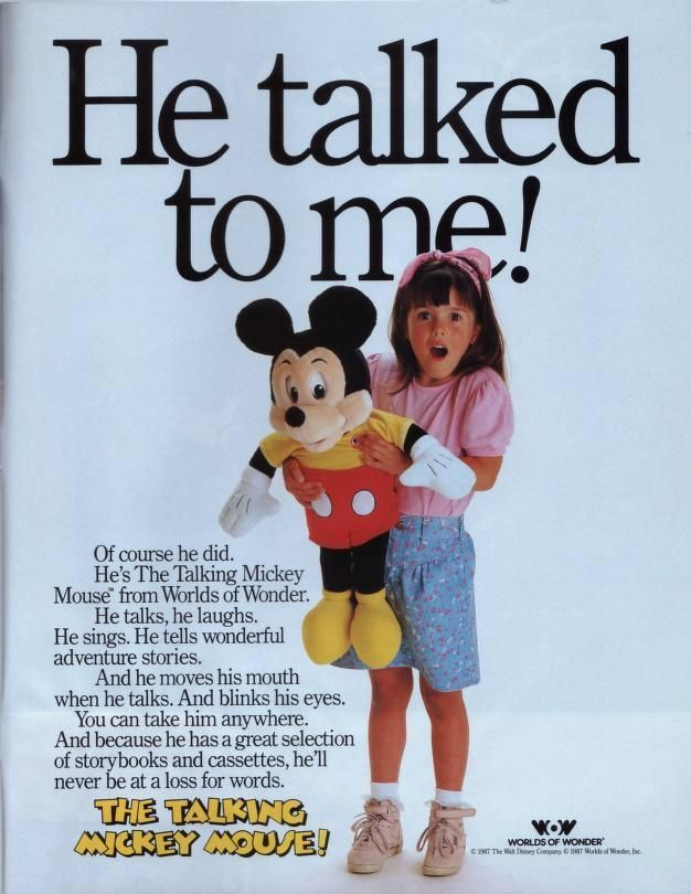 The talking Mickey Mouse from World of Wonder (Fall 1987) advertisingpics.tumblr.com/post/183518295…