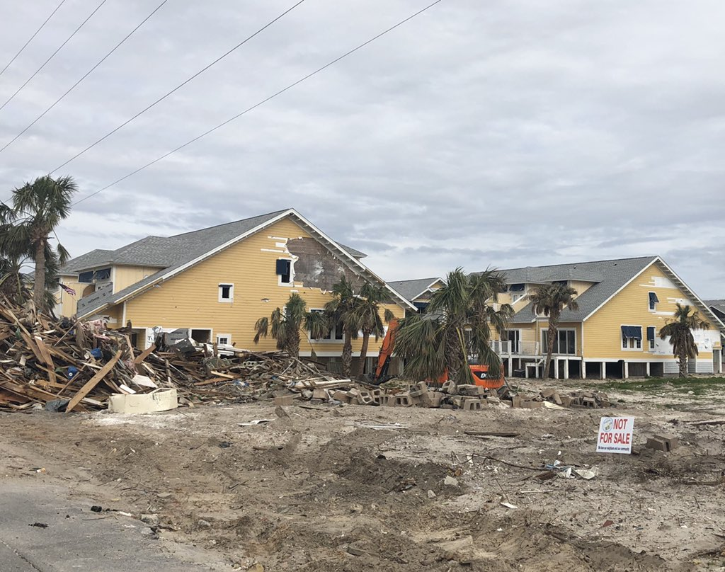 Please note the sign.  Heartbreaking to see how the recovery is from #hurricaneMichael. <br>http://pic.twitter.com/zSNMGWUQba