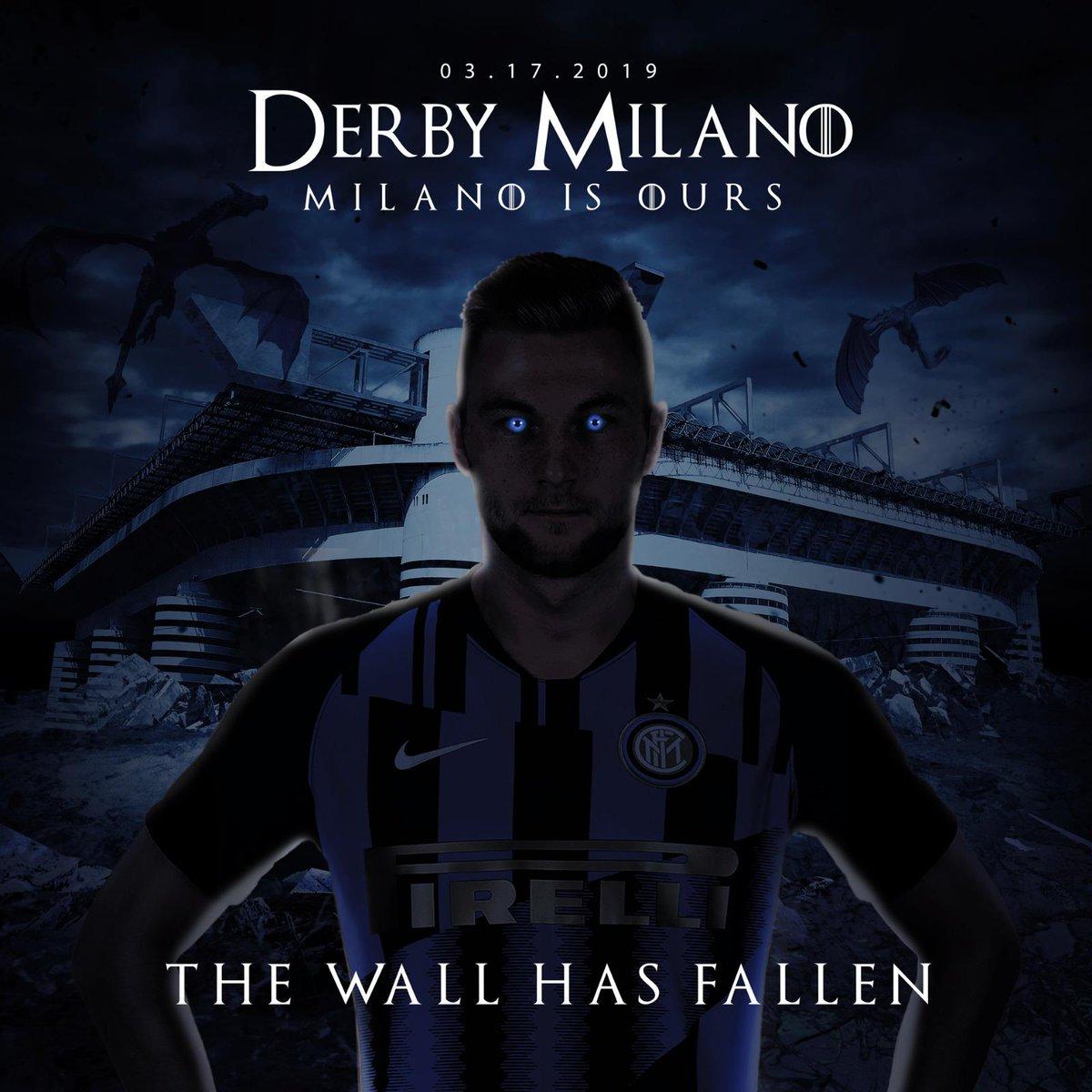 90' + 7' FINITAAAAAAAAAA  L'INTER VINCE IL DERBY  2-3!  THE WALL HAS FALLEN!  🖤💙 MILANO SIAMO NOI  #GOT