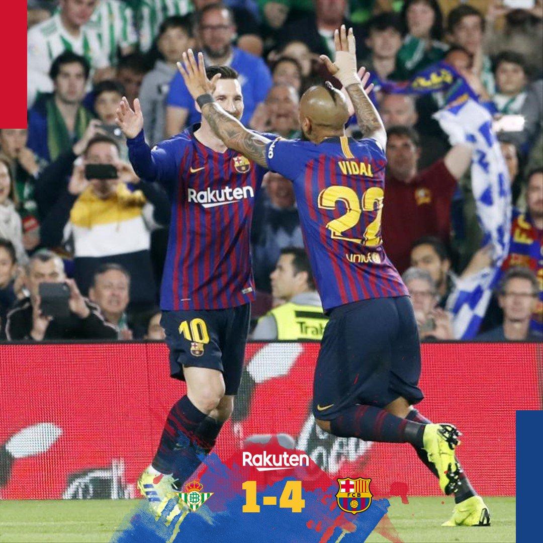 ⏰ It's all over ... what a performance!  🔵🔴 Betis 1 (Loren) Barça 4 (Messi 3, Suárez) 💪😍 #BetisBarça