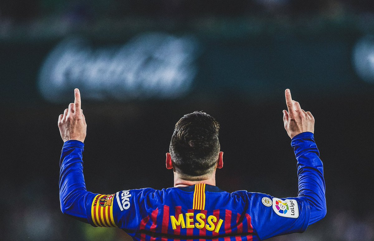 "🎯 Worldie free kick for his first...  ⚽️ Scores his brace...  🎩 Completes hattrick with a chip on the edge of 18 yard box...  🗣 Betis fans stand up and applaud, chanting ""Messi, Messi, Messi""...  ✅ @FCBarcelona complete 1-4 victory away from home...  🙏 We are not worthy."