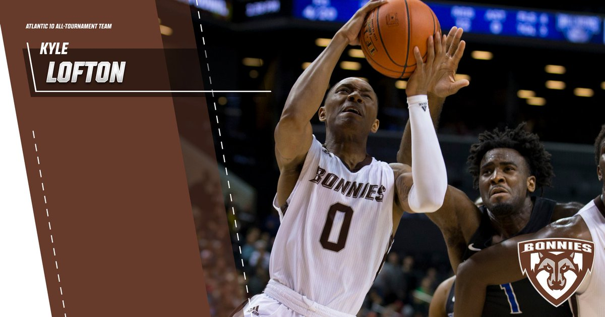 Congratulations to our point guard Kyle Lofton, who capped his remarkable freshman season with a spot on the #A10MBB All-Tournament Team. #Bonnies   #Unfurl