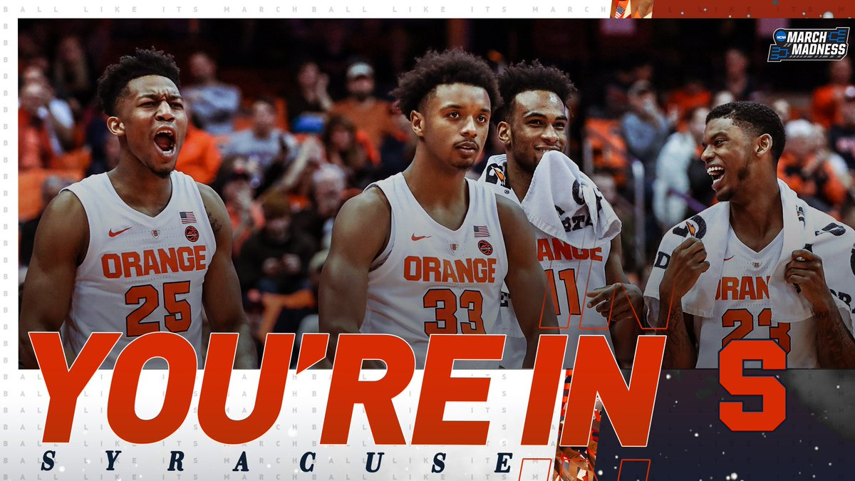 Syracuse #8 seed in NCAA Tournament, will play No. 9 seed Baylor