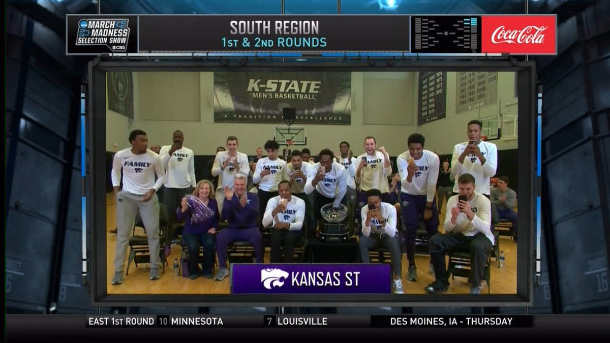 The reveal as a No. 4 seed  #MarchMadness #KStateMBB https://t.co/BKTmEUJLha