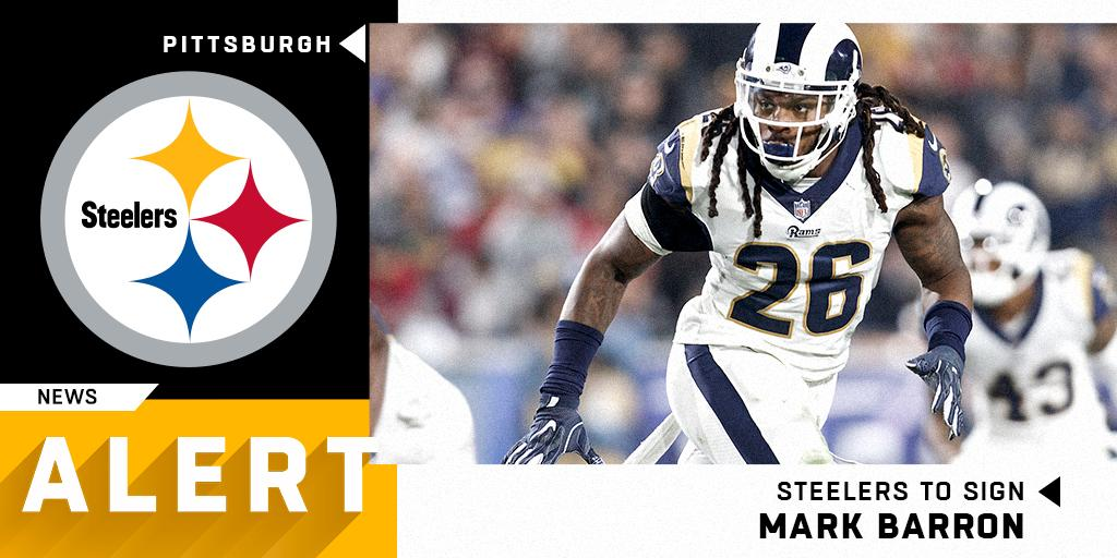LB Mark Barron (@M_B_24) signs two-year, $12M deal with @steelers.  (via @RapSheet)<br>http://pic.twitter.com/jjsGGEtjMn