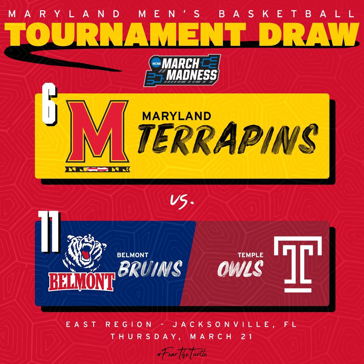 #SelectionSunday   [ 6 #Terps ] - [ 11 Belmont/ 11 Temple ] -   East Region - Jacksonville, Fl Thursday - March 21   #FearTheTurtle<br>http://pic.twitter.com/wXaQMzD0Fw