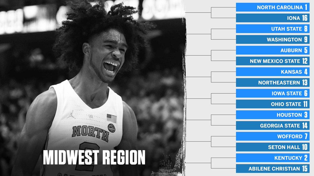 No. 1 North Carolina. No. 2 Kentucky. The Midwest Region is set!