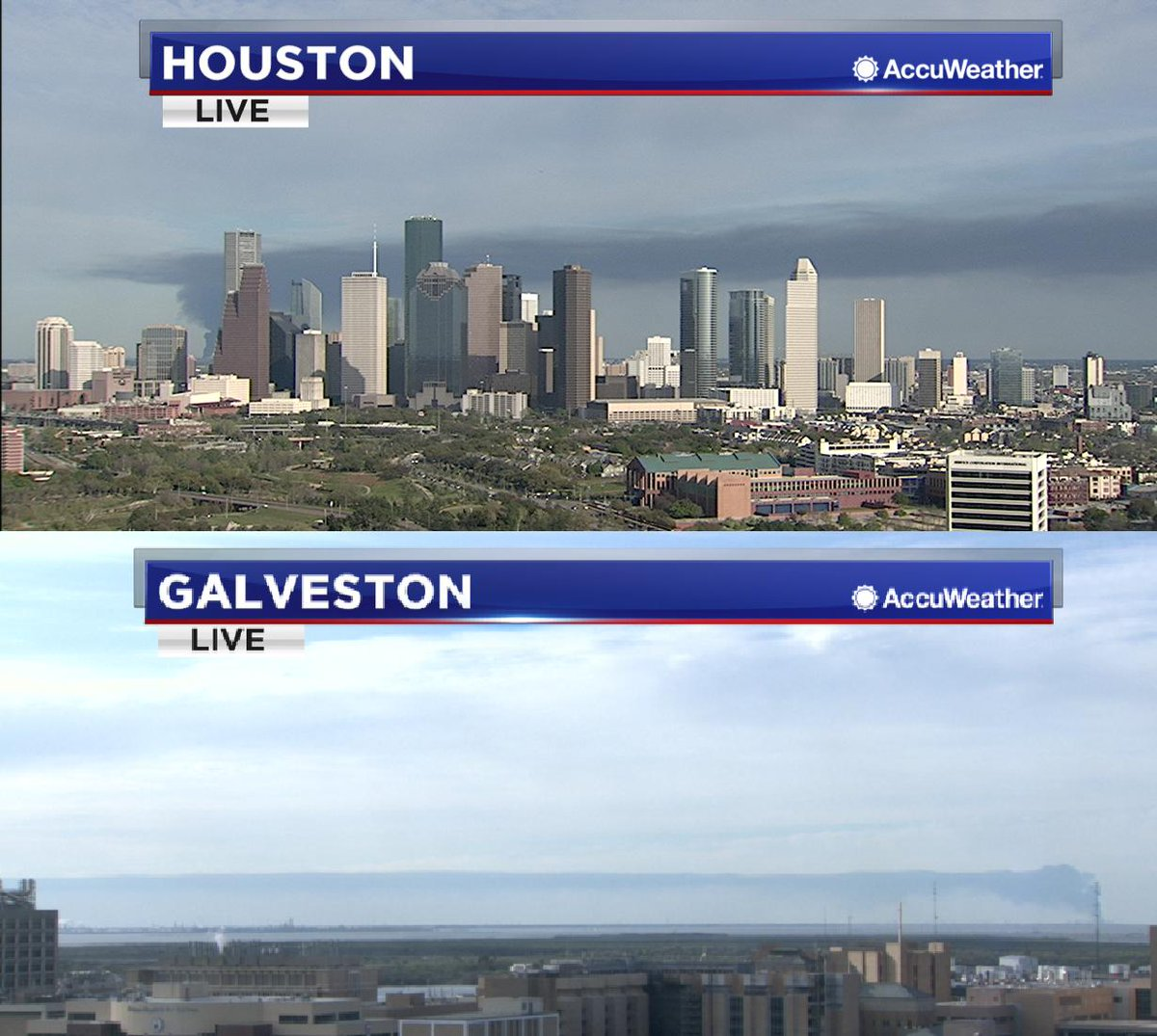 Smoke continues to spread from the fire at the ITC plant. We are able to catch the smoke on both the Houston and Galveston Towercams.  More info on the fire at:  https:// abc13.com/shelter-in-pla ce-issued-for-deer-park-after-fire-at-itc-plant/5200816/ &nbsp; … <br>http://pic.twitter.com/5LZubp4Fsc
