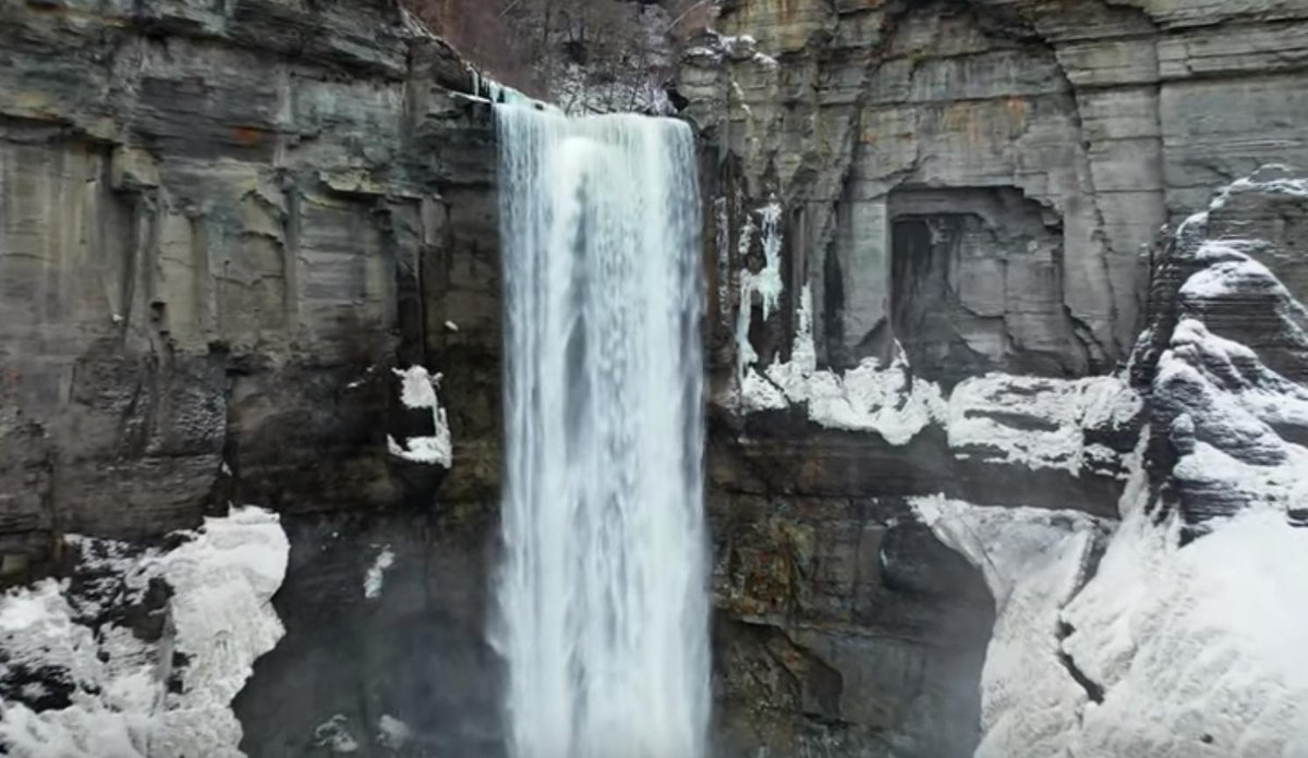 VIDEO: Snowy day at Taughannock Falls State Park