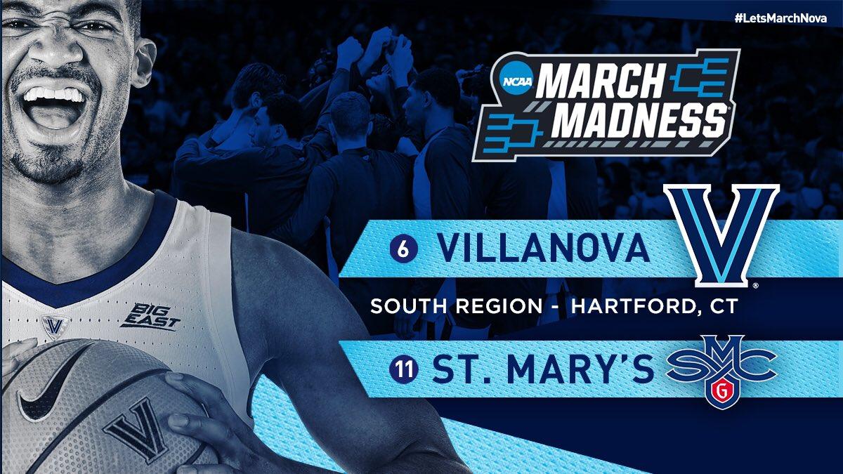 No. 6 Villanova vs. No. 11 Saint Mary's: Game Time, Channel, Announcers, Prediction