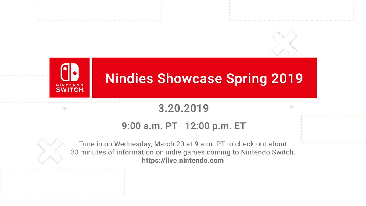 Tune in this Wednesday, March 20 at 9am PT for a new #Nindies Showcase video presentation featuring about 30 minutes of information on indie games coming to #NintendoSwitch!  🎥 https://live.nintendo.com/