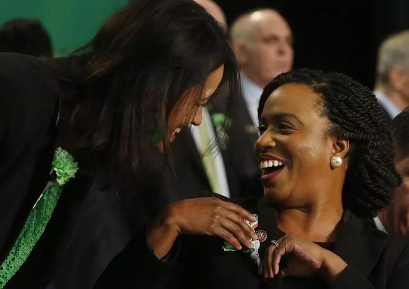 "During St. Patrick's Day breakfast, Ayanna Pressley recalled a quote from Shirley Chisholm, ""who said, 'If they don't give you a seat at the table, bring your own folding chair.' ""...Today it feels great that there was already one here waiting for me."" http://bos.gl/qzmkKzC"